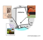 Map of books set in Alabama by Alabama authors on andreareadsamerica.wordpress.com