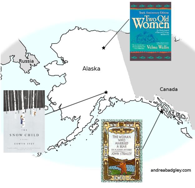 Map of books set in Alaska by Alaska authors on andreareadsamerica.wordpress.com