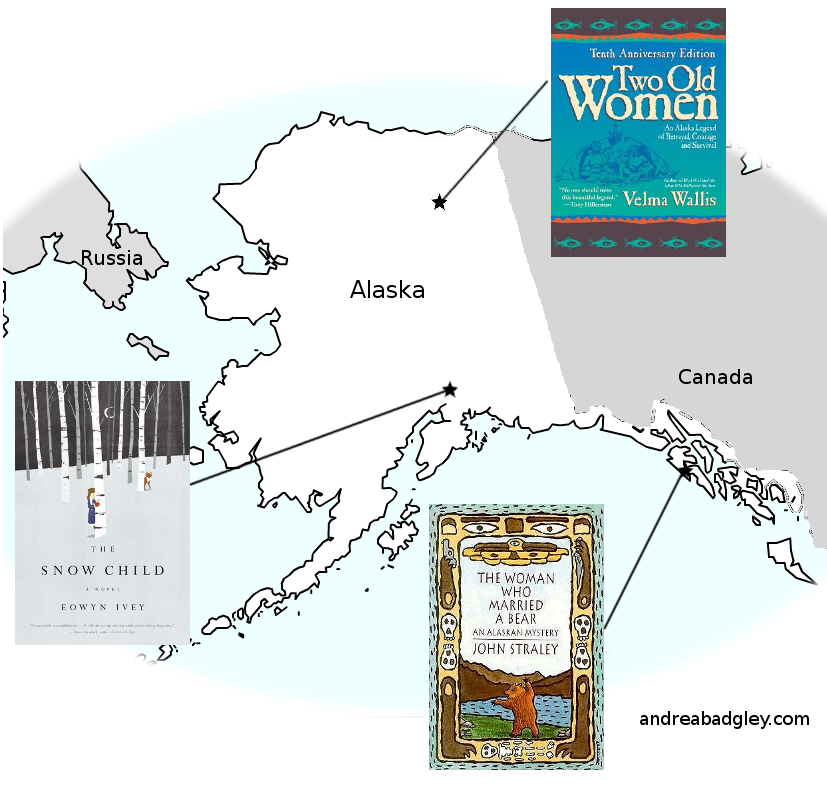 Map of books set in Alaska by Alaska authors on andreareadsamerica.wordpress.com