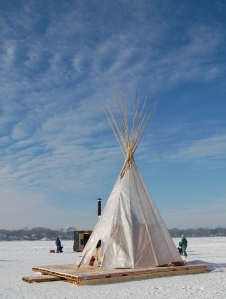 Teepee art shanty on frozen lake in Minnesota on andreareadsamerica.com