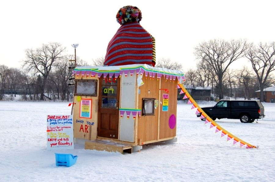 Art swap shanty, Minnesota, 2010 on andreareadsamerica.com