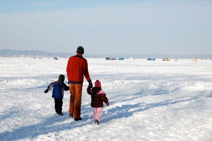 Walking on a frozen lake, Art Shanty exhibit, Minnesota, 2010 on andreareadsamerica.com