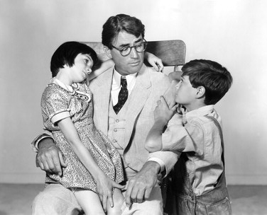 left to right: Scout, Atticus, Jem from To Kill A Mockingbird movie, black and white photo, on andreareadsamerica.com