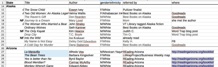 Andrea Reads America: screenshot of title and author spreadsheet, organized by state on andreareadsamerica.com