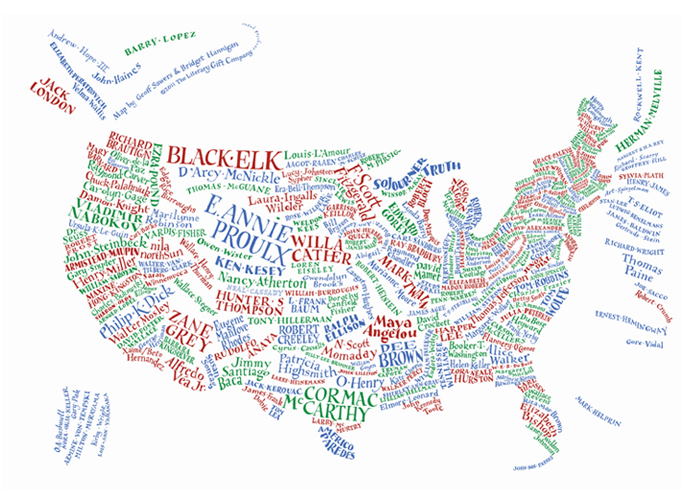 Hand-lettered literary map of USA available at The Literary Gift Company