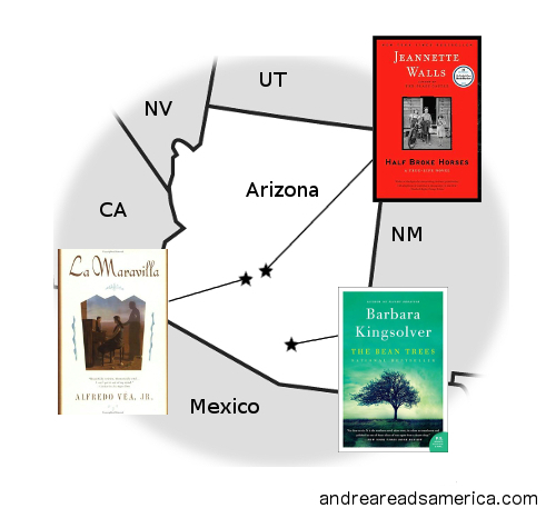 Map of book set in Arizona by Arizona authors on andreareadsamerica.com
