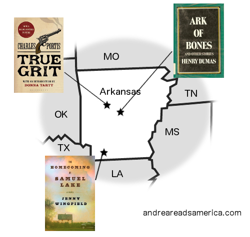 Arkansas Book Map: True Grit, Ark of Bones, and The Homecoming of Samuel Lake on andreareadsamerica.com