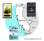 Andrea Reads America California Book Map with Cannery Row, The Dawn Patrol, and Parable of the Sower on andreareadsamerica.com