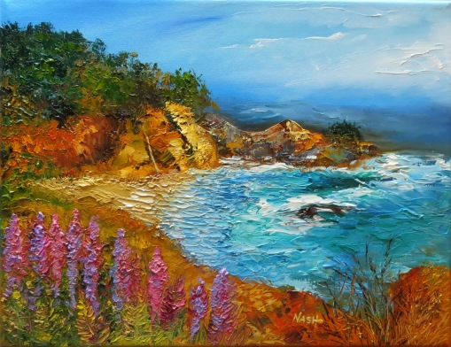 Big Sur Cliffs McWay Falls oil on canvas by Rose L. Nash at rosenash.blogspot.comt