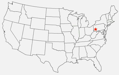 Map: Southwestern Pennsylvania, setting of Black Bull by Kriscinda Lee Everitt