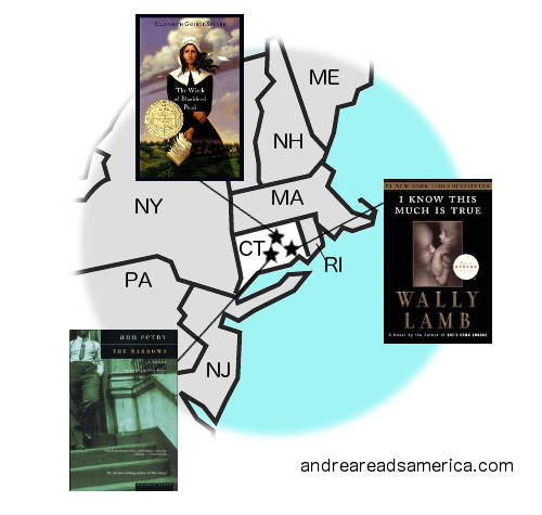 map of Connecticut-set books on andreareadsamerica.com