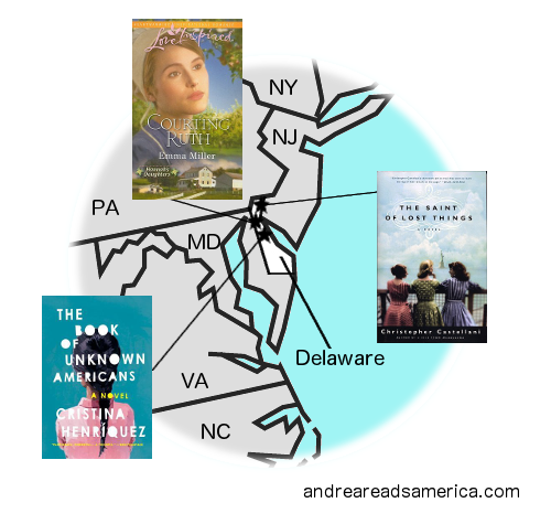 Map of books set in Delaware and written by Delaware authors on andreareadsamerica.com