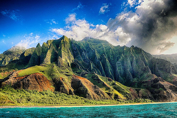 Na'Pali, Spires, Kauai, Blue, Green, Ocean, Tropical, Island, Fine Art Photography on Etsy