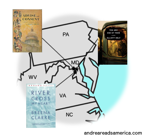 Map of books set in Washington, D.C.  and written by Washington, D.C. authors on Andrea Reads America
