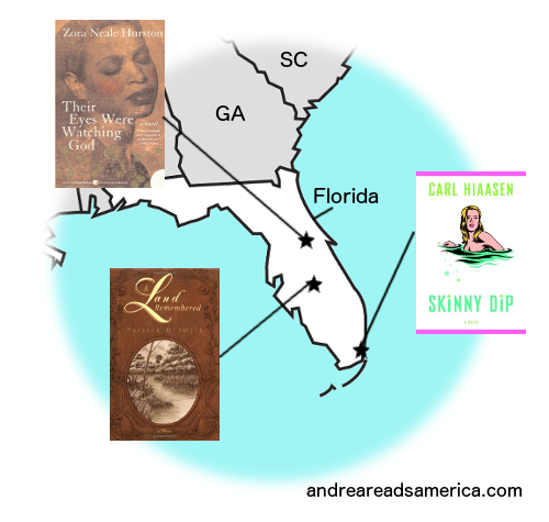Map of books set in Florida and written by Florida authors on andreareadsamerica.com