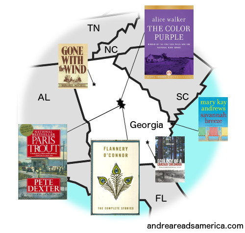 Map of books set in Georgia and written by Georgia authors on Andrea Reads America