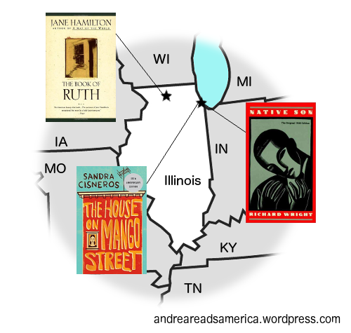 Andrea Reads America Illinois book map