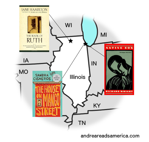 Map of books set in Illinois written by Illinois authors on Andrea Reads America