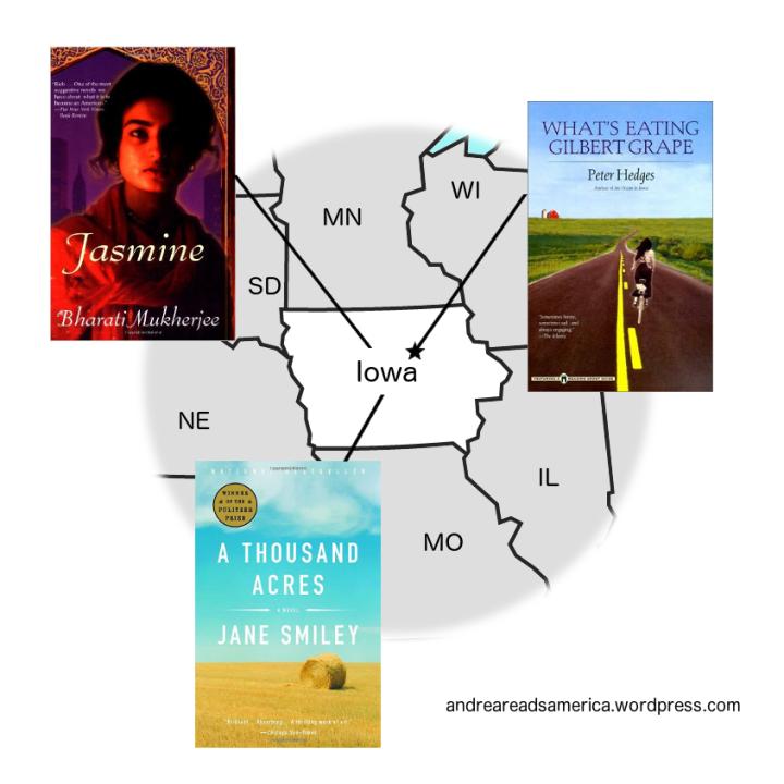 Andrea Reads America Iowa book map