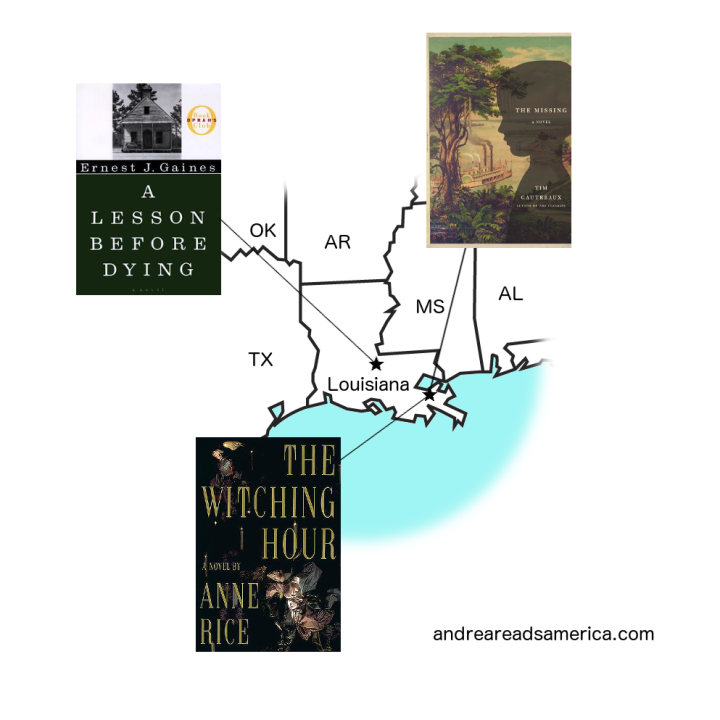 Map of books set in Lousiana: A Lesson Before Dying, The Missing, The Witching Hour