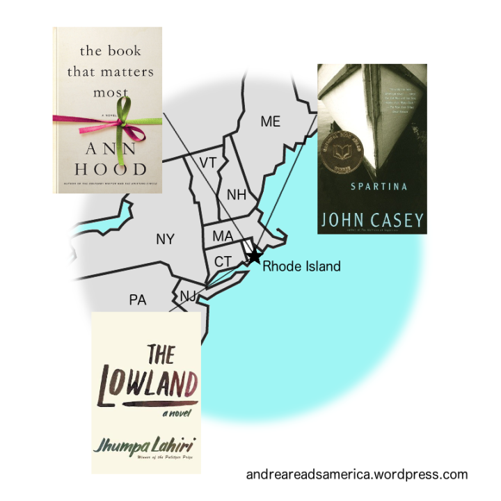 Map of 3 books set in Rhode Island: Spartina, The Lowland, The Book That Matters Most